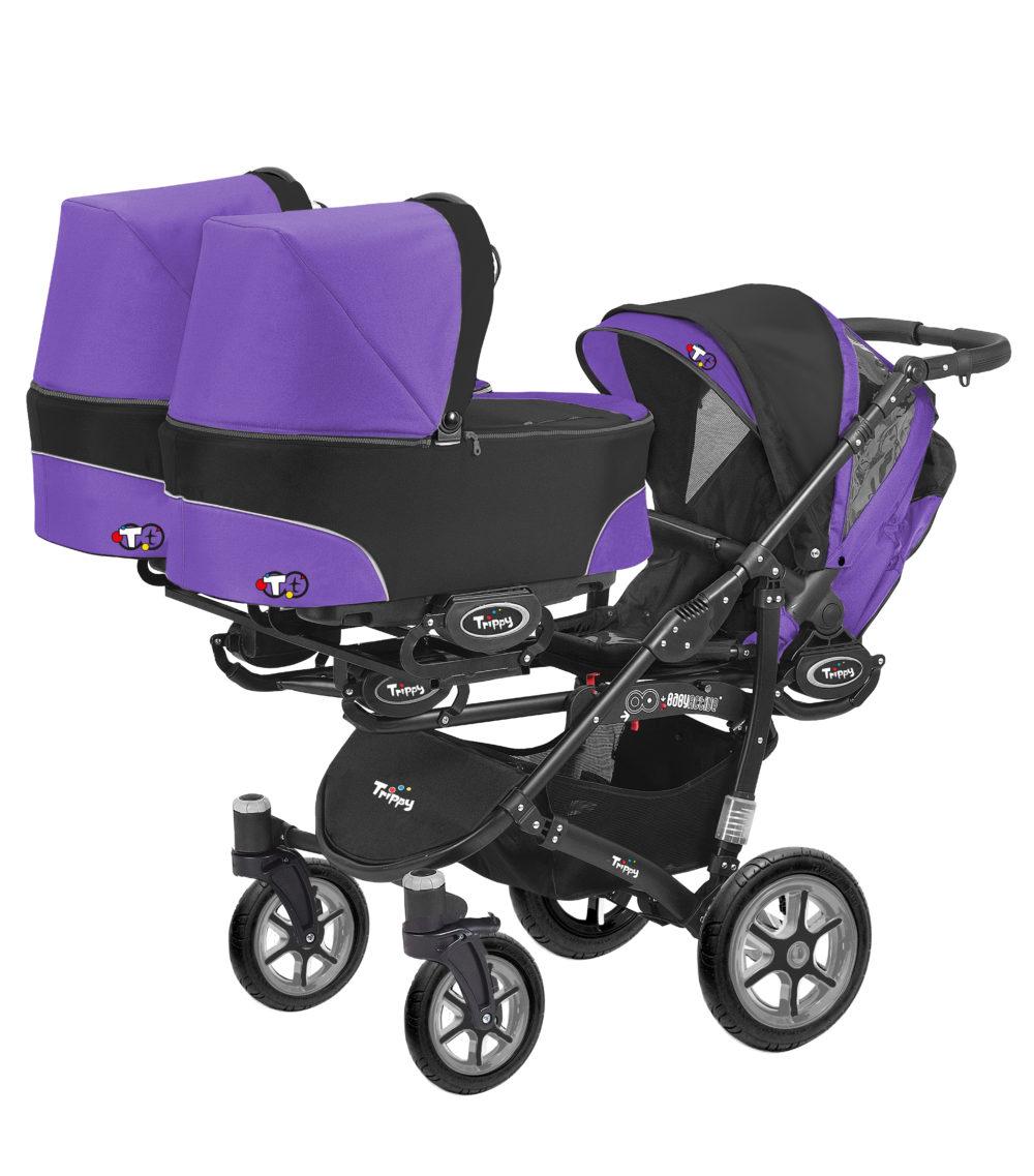 Коляска для тройни BabyActive Trippy Standart 2 в 1 Black (Фиолетовый)