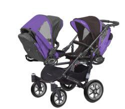 Коляска для двойни BabyActive Twinny Standart 2 в 1 Black (Фиолетовый)