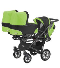 Коляска для тройни BabyActive Trippy Standart 2 в 1 Black (Зеленый)