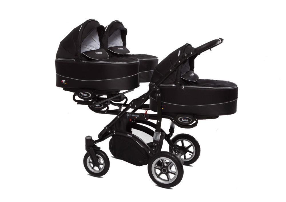 Коляска для тройни BabyActive Trippy Premium 2 в 1 (Черный)