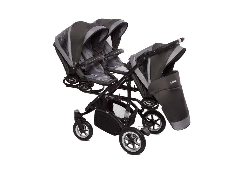 Коляска для тройни BabyActive Trippy Premium 2 в 1 (Серый)