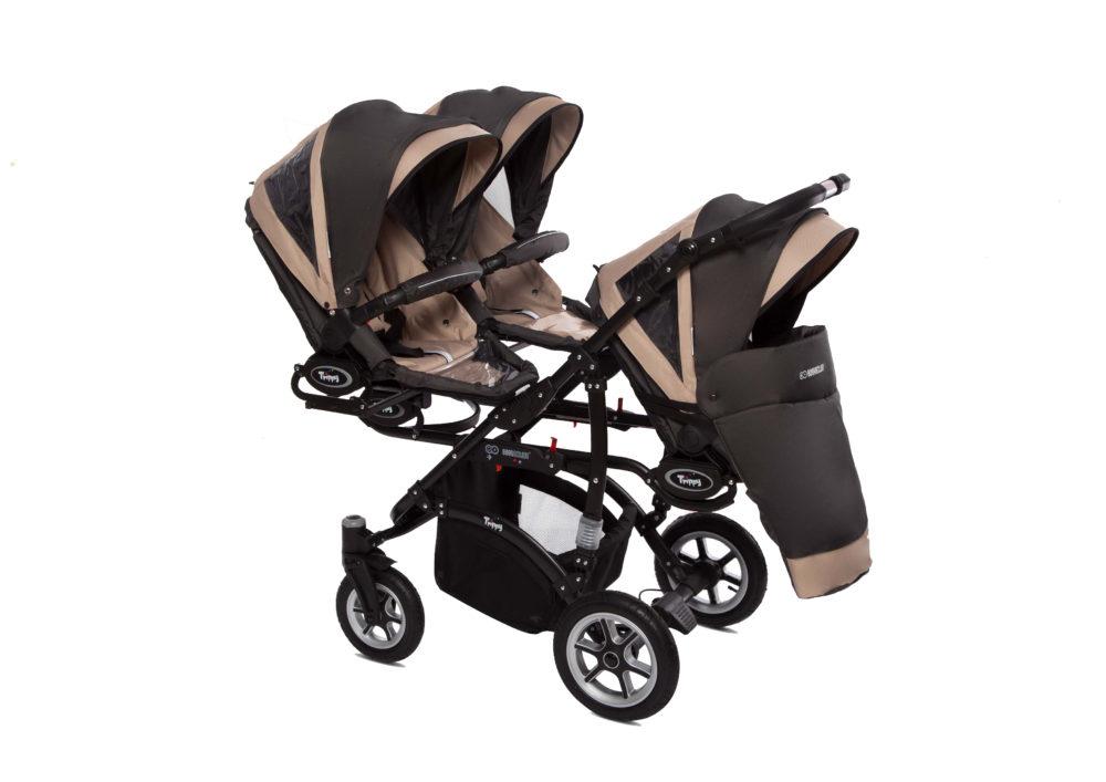 Коляска для тройни BabyActive Trippy Premium 2 в 1 (Бежевый)