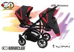 Коляска для двойни BabyActive Twinny Premium 2 в 1 (Красный)