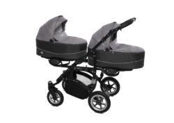 Коляска для двойни BabyActive Twinny Premium 2 в 1 (Серый)