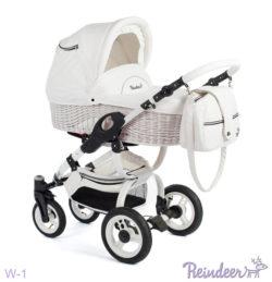 Детская коляска Reindeer City Prestige Wiklina 3 в 1 с конвертом (белый)