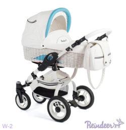 Детская коляска Reindeer City Prestige Wiklina 3 в 1 с конвертом (белый-голубой)