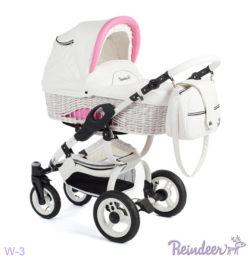 Детская коляска Reindeer City Prestige Wiklina 3 в 1 с конвертом (белый-розовый)