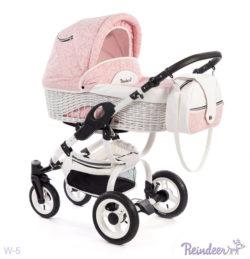 Детская коляска Reindeer City Prestige Wiklina 3 в 1 с конвертом (розовый)