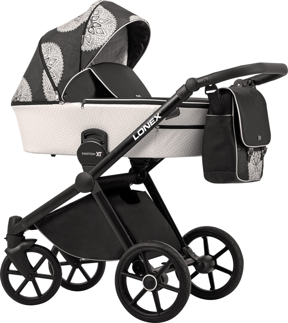 Детская коляска LONEX EMOTION XT COMBO 2 В 1 (Белый/черный)