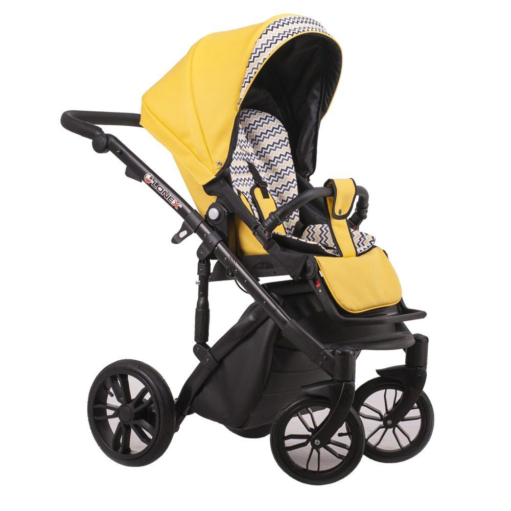 Детская коляска LONEX COMFORT GALLAXY 2 В 1 (Желтый с узорами)