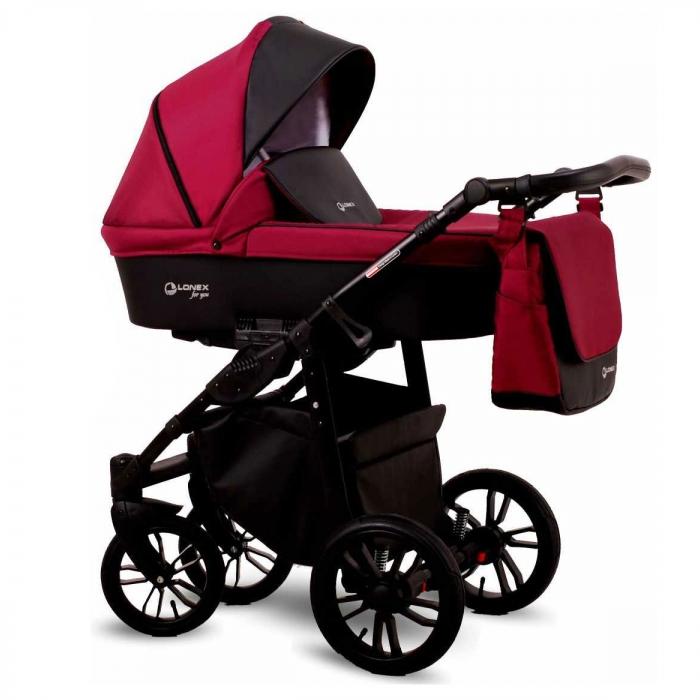 Детская коляска LONEX FIRST 3 В 1 (Бордовый)