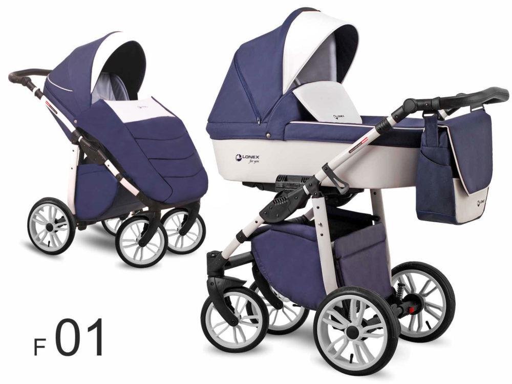 Детская коляска LONEX FIRST 2 В 1 (Синий/белый)