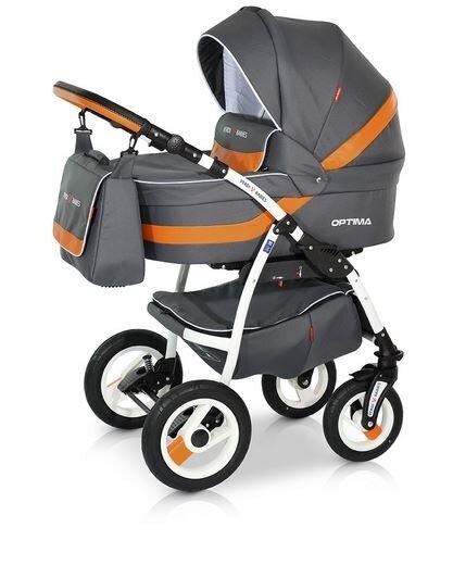 Детская коляска Verdi Optima 3 в 1 (Серый/оранжевый)
