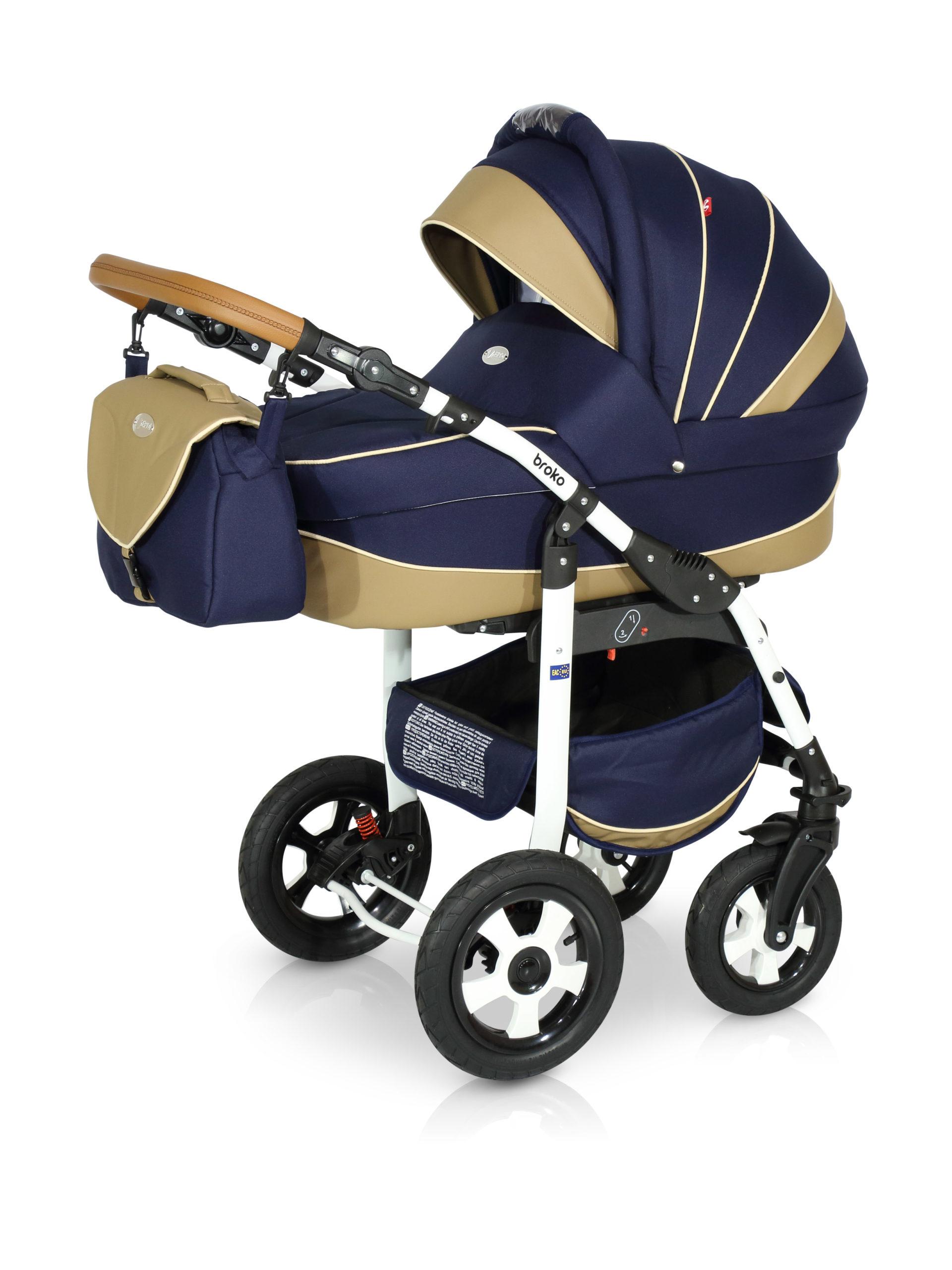Детская коляска Verdi Broko 3 в 1 (Синий/бежевый)