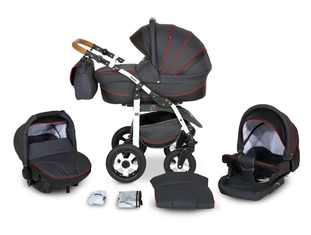 Детская коляска Verdi Broko 3 в 1 (Черный/красный)