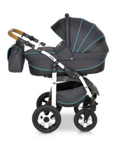 Детская коляска Verdi Broko 3 в 1 (Черный/голубой)
