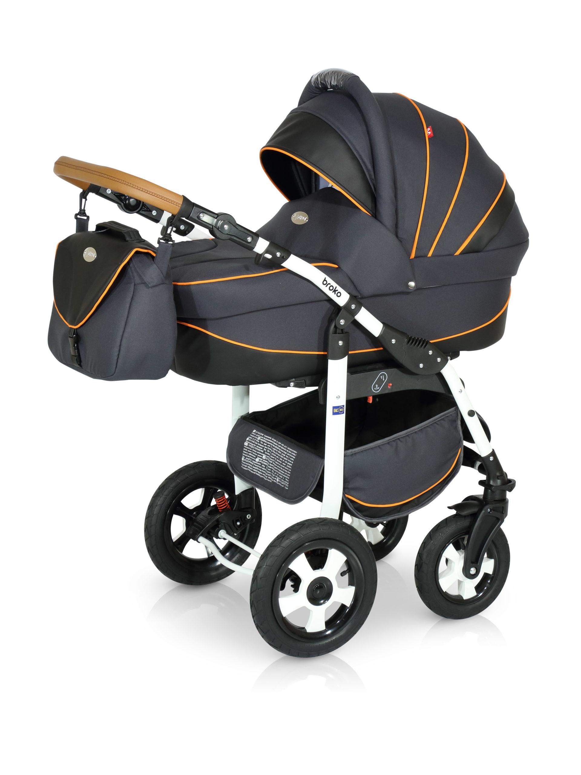 Детская коляска Verdi Broko 3 в 1 (Черный/оранжевый)