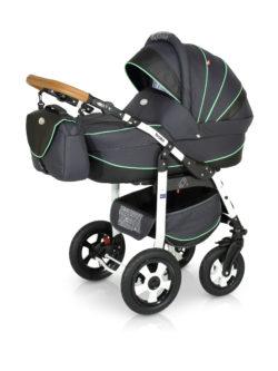 Детская коляска Verdi Broko 3 в 1 (Черный/бирюзовый)