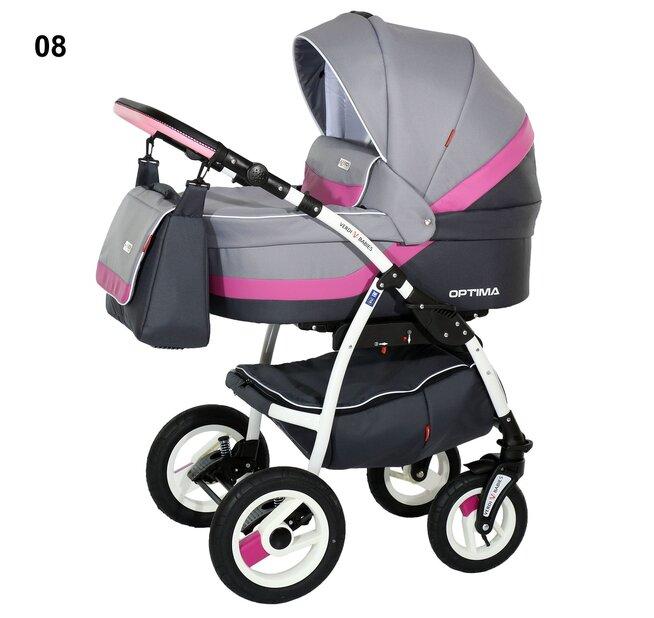Детская коляска Verdi Optima 3 в 1 (Серый/розовый)