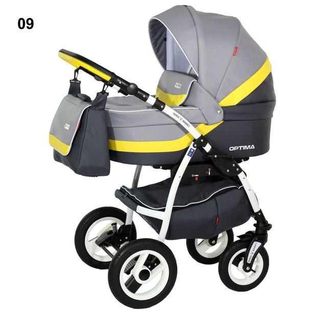 Детская коляска Verdi Optima 3 в 1 (Серый/желтый)