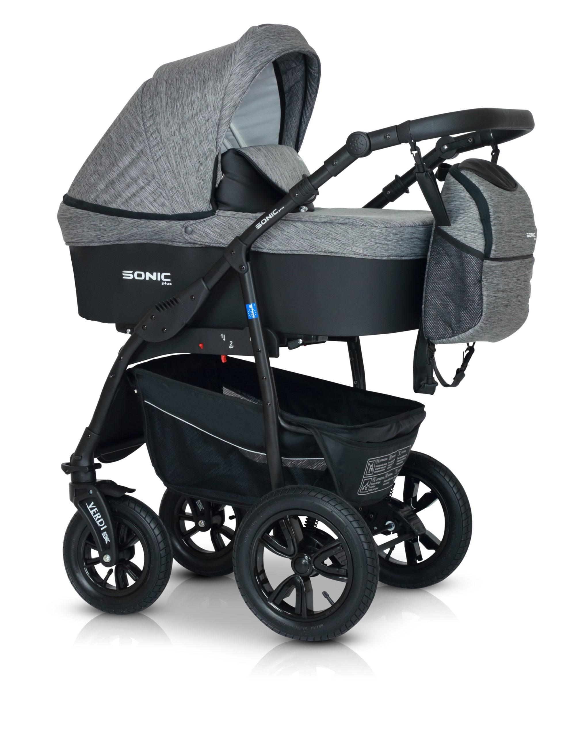 Детская коляска Verdi Sonic Plus 3 в 1 (Серый/черный)