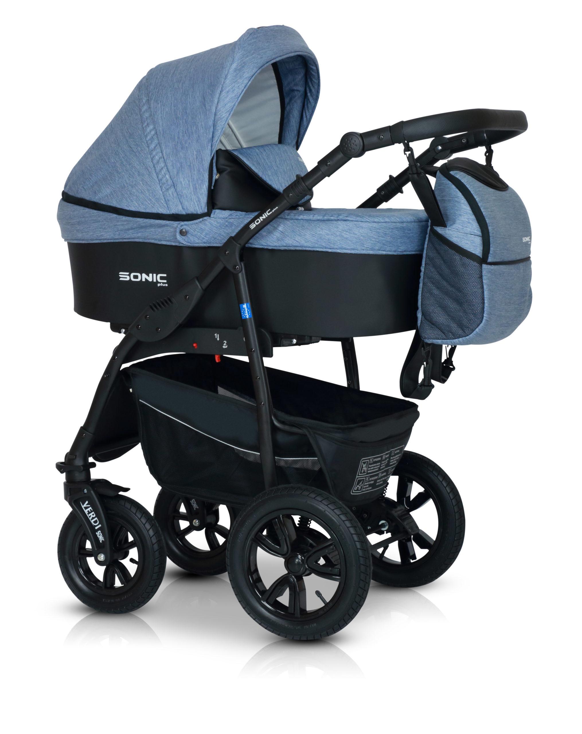 Детская коляска Verdi Sonic Plus 3 в 1 (Голубой/черный)