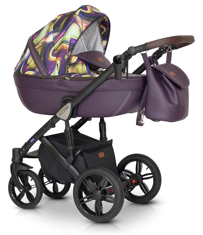 Детская коляска Verdi Mocca 3 в 1 (Фиолетовый с рисунком)