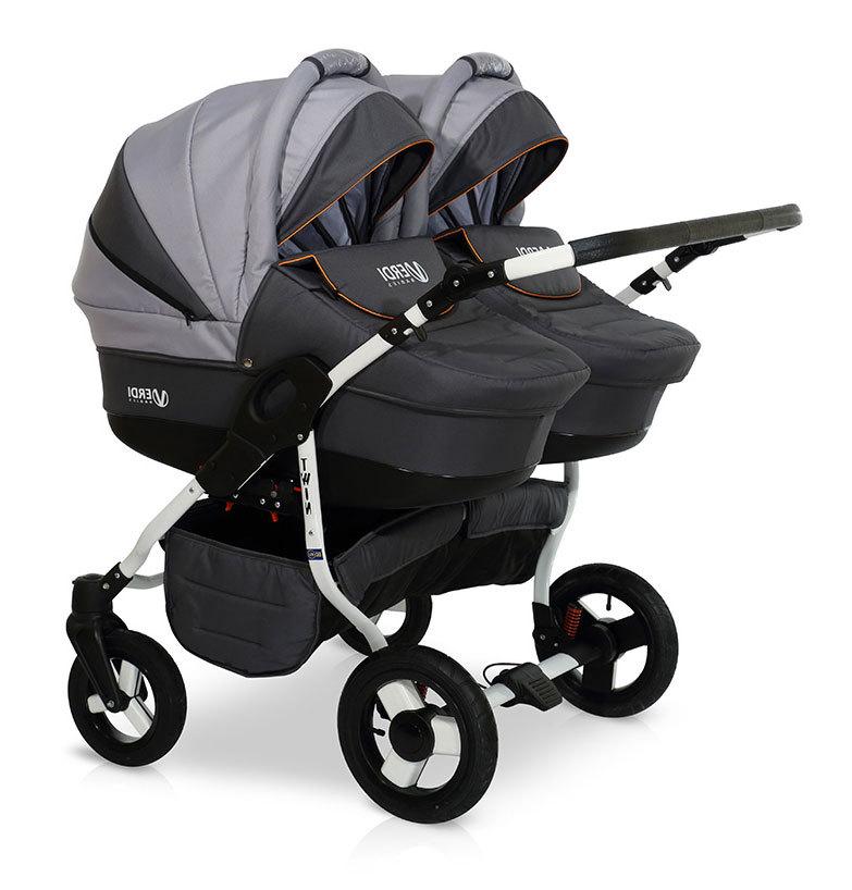Детская коляска для двойни Verdi Twin 2 в 1 (Черный/серый)