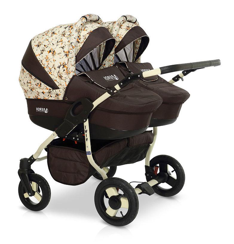 Детская коляска для двойни Verdi Twin 2 в 1 (Темно-коричневый)