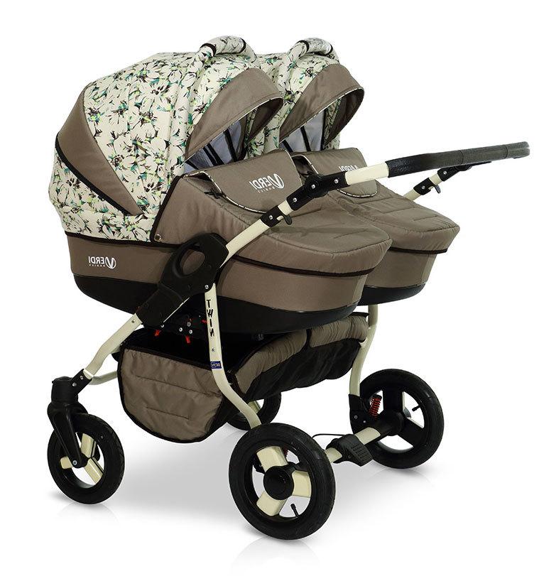 Детская коляска для двойни Verdi Twin 2 в 1 (Хаки)