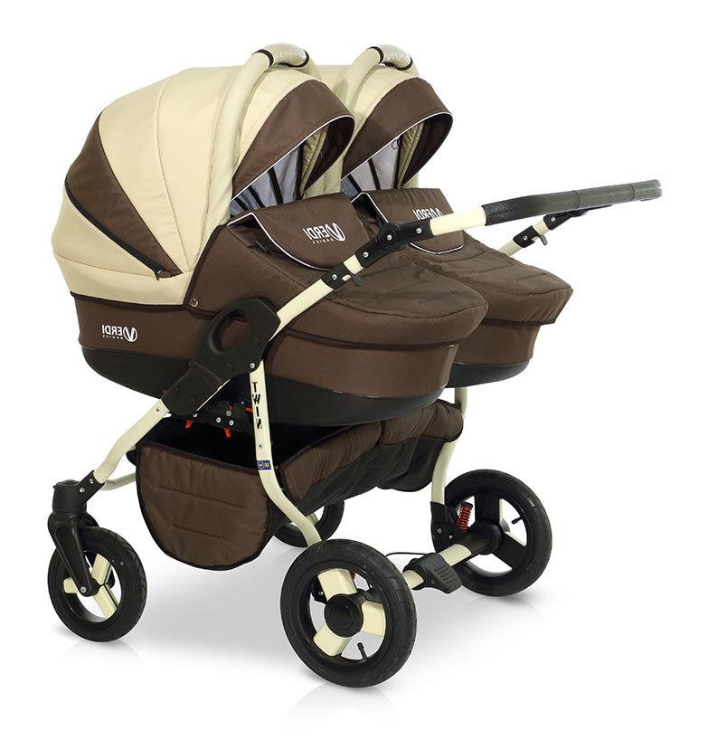 Детская коляска для двойни Verdi Twin 2 в 1 (Коричневый/бежевый)