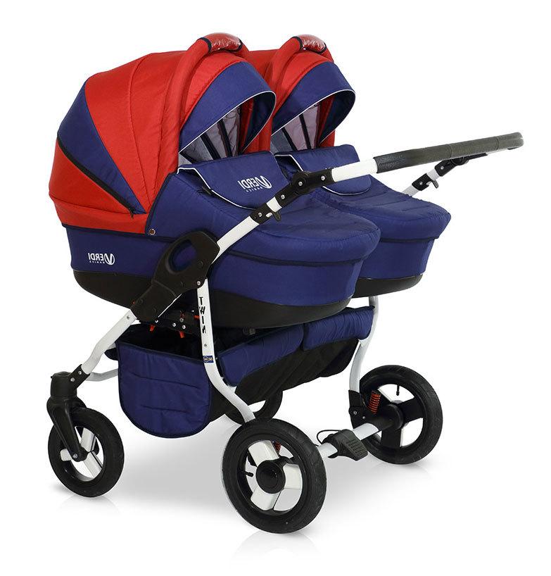 Детская коляска для двойни Verdi Twin 2 в 1 (Синий/красный)