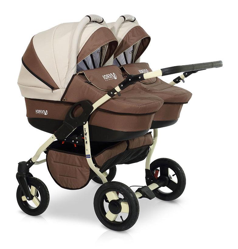 Детская коляска для двойни Verdi Twin 2 в 1 (Коричневый/белый)