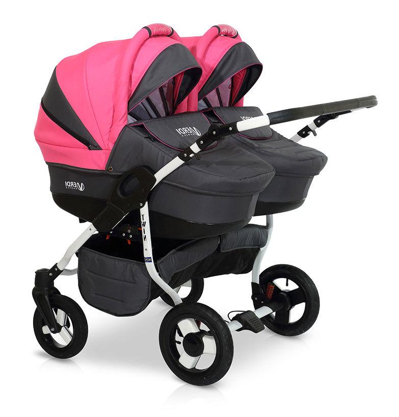 Детская коляска для двойни Verdi Twin 2 в 1 (Черный/розовый)