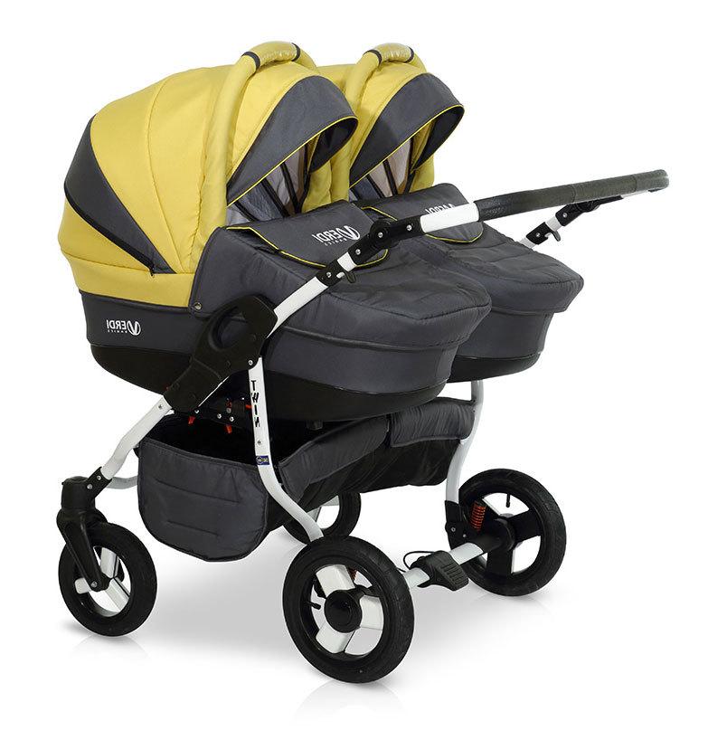 Детская коляска для двойни Verdi Twin 2 в 1 (Черный/желтый)