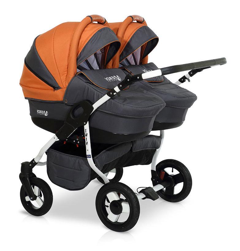 Детская коляска для двойни Verdi Twin 2 в 1 (Черный/оранжевый)