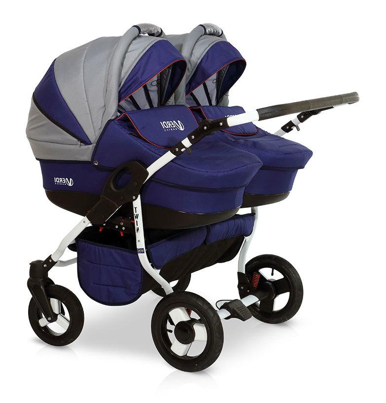Детская коляска для двойни Verdi Twin 2 в 1 (Синий/серый)