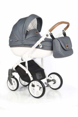 Детская коляска Roan Bass Soft 3 в 1 New 2019 (Серый) Blue Dots