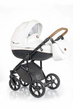 Детская коляска Roan Bass Soft 3 в 1 New 2019 эко-кожа (Белый) Caramel White