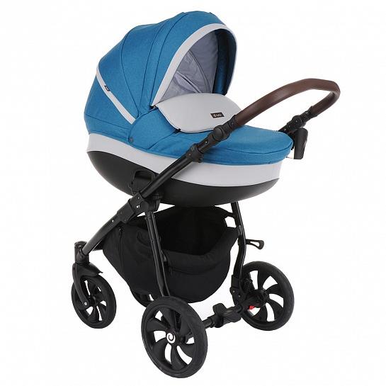 Коляска Tutis Nanni 3 в 1 (Голубой/+Кожа серый)/Гелевые колеса