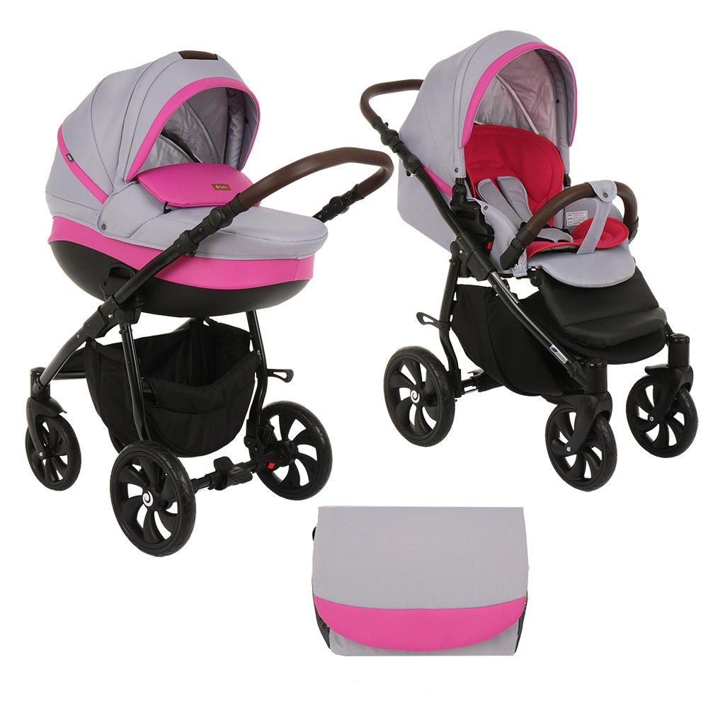 Коляска Tutis Nanni 2 в 1 (Серый+Кожа розовый)/гелевые колеса