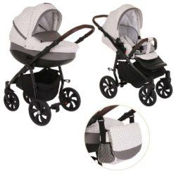 Коляска Tutis Nanni 2 в 1 (Серый+Кожа Темно-серый)/гелевые колеса