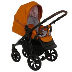 Коляска Tutis Nanni 2 в 1 (Оранжевый+Кожа терракот)/гелевые колеса
