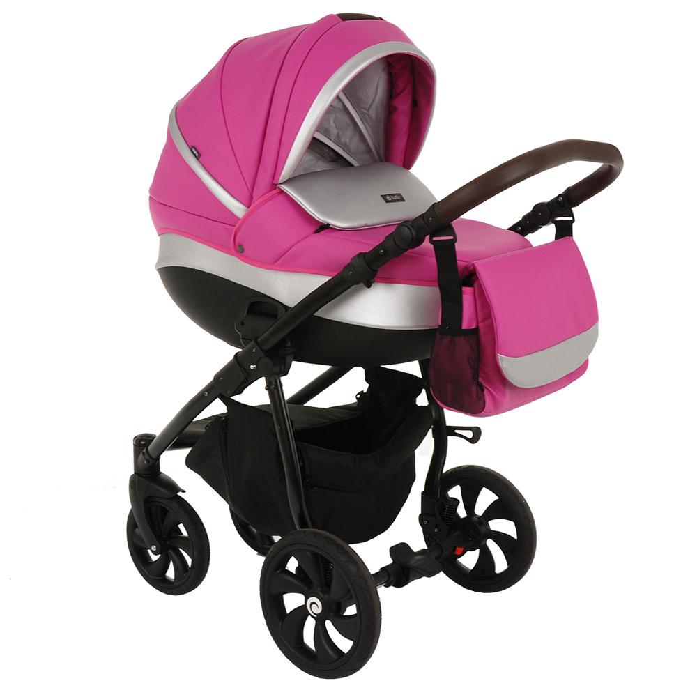 Коляска Tutis Nanni 2 в 1 (Розовый+кожа серебро)/гелевые колеса