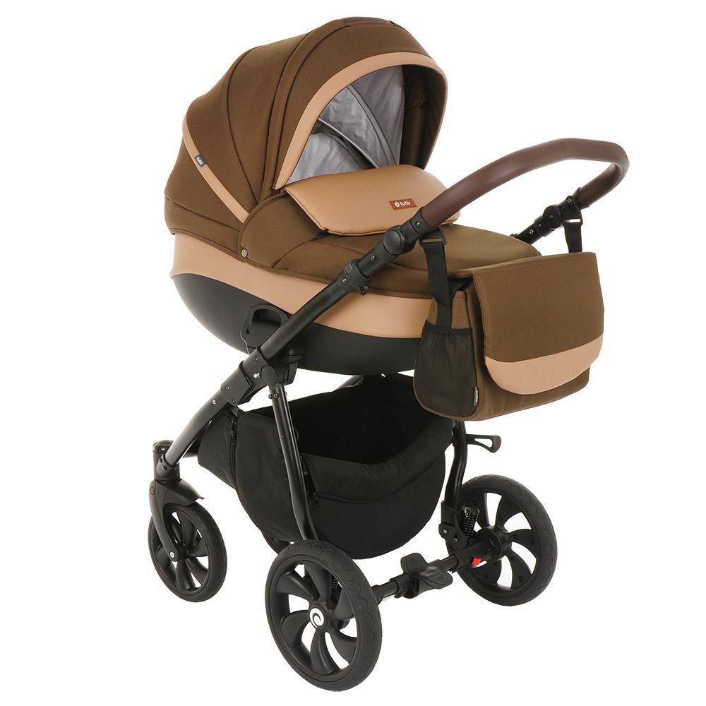 Коляска Tutis Nanni 3 в 1 (Тёмно-коричневый+Кожа бежевый)/Гелевые колеса