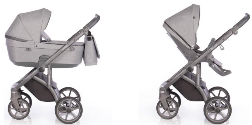 Детская коляска Roan Bloom 2 в 1 New 2021 (Серый) Grey Dots