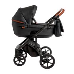 Детская коляска Roan Bloom 2 в 1 New 2021 эко-кожа (Черный) Black Pearl