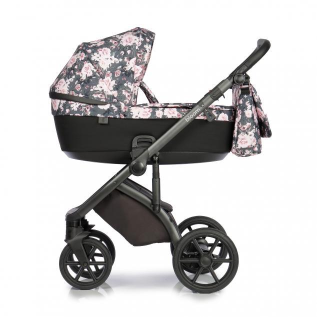 Детская коляска Roan Bloom 3 в 1 New 2021 (Черный) Night Flowers