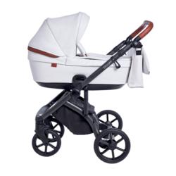Детская коляска Roan Bloom 2 в 1 New 2021 эко-кожа (Белый) Caramel White