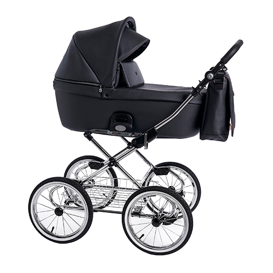 Детская коляска люлька Roan Coss Classic эко-кожа (Black Pearl)/(Черный)